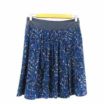 【中古】アンタイトル UNTITLED スカート ギャザー ひざ丈 総柄 2 青 ブルー /AAM34 レディース