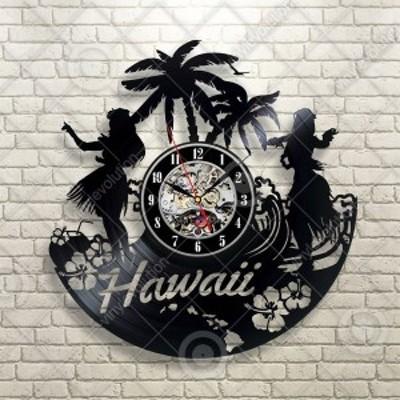 30cm レコード盤 壁掛け時計 ハワイ フラダンス ヤシの木 ハイビスカス ビーチ インテリア ディスプレイ シルエット 輸入雑貨