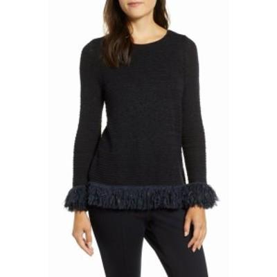 NIC+ZOE ニックゾー ファッション トップス Nic+Zoe Womens Black Size Small PS Petite Fringed Crewneck Sweater