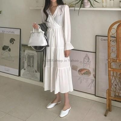 レディースファッション セクシーなVネック長袖女性シフォンドレス2020春カジュアルホワイトドレスハイスリムウエストレースアップミドル丈Vestido