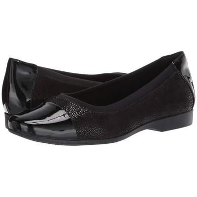 クラークス Un Darcey Cap レディース フラットシューズ Black Nubuck/Leather Combination