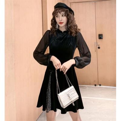 ナチュラルでシンプルなデザイン INSスタイル トレンド おしゃれな スリムフィット ベルベット ワンビース プリーツスカート