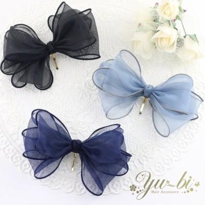 ポニーフック/オーガンジー 大きめ リボン pn121☆青/紺/黒 シフォン ヘアフック ヘアカフ ヘアカフス ヘアアクセサリー 髪飾り くるりんぱ