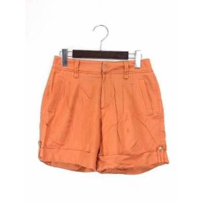 【中古】ブラーミン BRAHMIN パンツ 36 S オレンジ ショート リネン混 ロールアップ タック Ω レディース