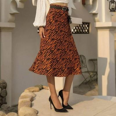 秋冬 スカート レディース 韓国ファッション ハイウエスト ヴィンテージ アニマル