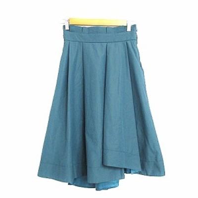 【中古】ウィルセレクション WILLSELECTION スカート ギャザー ひざ丈 M 緑 グリーン /AAM32 レディース