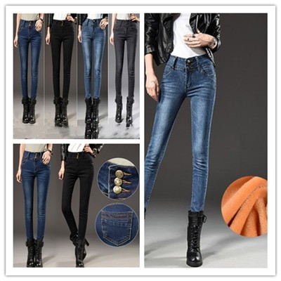 高品質、ハイウエストジーンズ、女性用ズボン、新しい韓国版、スリムでスリムな、足の小さいペンシルパンツ、ベルベットまたはシン、オプション、ベルベットまたはシン