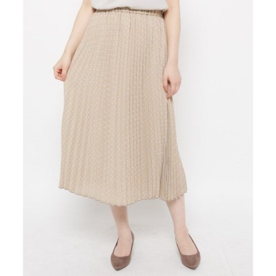 スカート 【洗える】ドット柄プリーツスカート