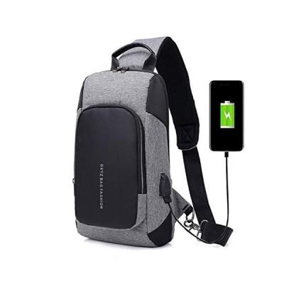 Men Chest Bag Fashion Canvas Crossbody Backpack Sling Bag with Charging Port並行輸入品