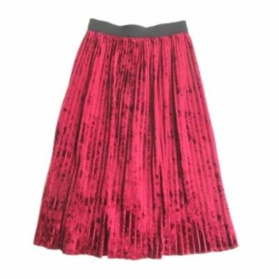 【中古】ザラ ベーシック ZARA BASIC ベロア ハーフ プリーツ スカート 膝丈 ウエストゴム 光沢感 赤 XS エンジ