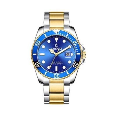 メンズ腕時計 回転式ベゼル ラグジュアリー ステンレススチール ビジネス腕時計 クラシック ツートーン クォーツウォッチ ブルー