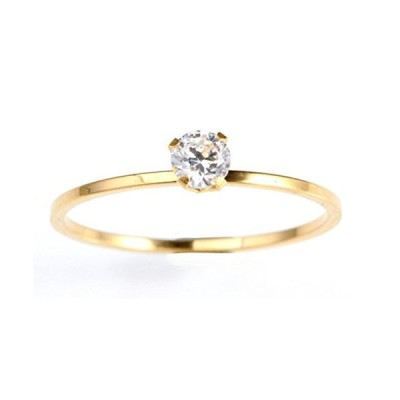 HIJONES Women's Thin Solitaire Princess Cut CZ Diamond Engagement Ring Wedd