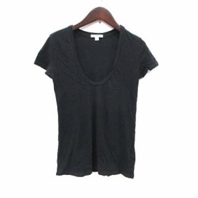 【中古】ジェームスパース JAMES PERSE Tシャツ カットソー 半袖 Uネック 0 黒 ブラック /CT レディース