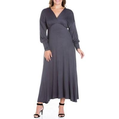 24セブンコンフォート レディース ワンピース トップス Plus Size V-Neck Long Sleeve Maxi Dress