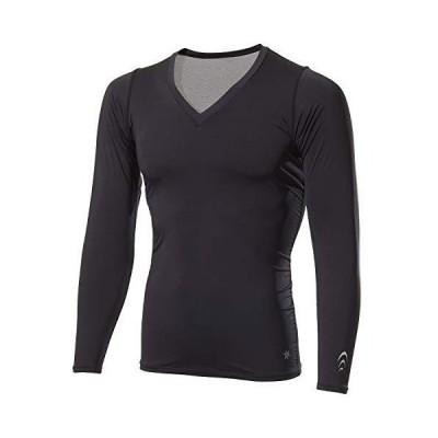 [シースリーフィット] インナーシャツ クーリングVネックロングスリーブ メンズ 接触冷感 吸汗速乾 UVカット ブラック M