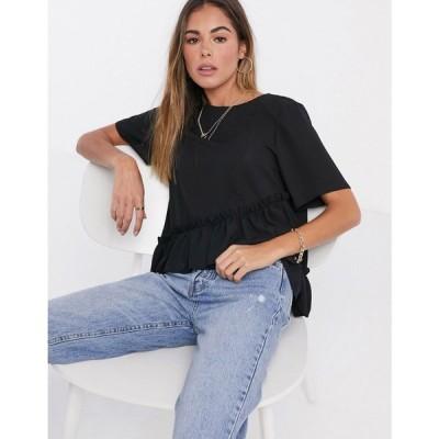 エイソス ASOS DESIGN レディース ブラウス・シャツ トップス woven t-shirt with ruffle hem in black ブラック