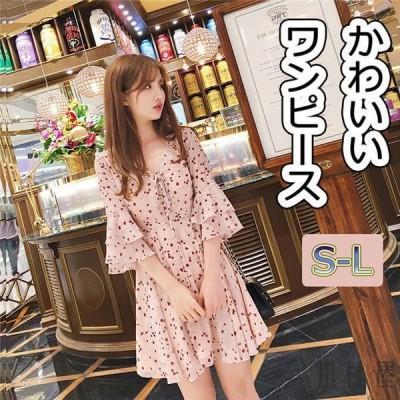 レディースワンピースフラワー夏シフォン花柄半袖フレアワンピースピンクひざ丈ドレスかわいい
