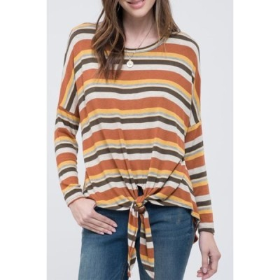 ブルーペッペーブルーペッパー レディース Tシャツ トップス Stripe Print Tie Front Knit Top RUST MULTI