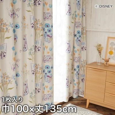 カーテン ディズニーファン必見 スミノエ Disney 既製カーテン MICKEY/ Flower vase Mickey with Donald(フラワーベースウィズDN) 巾100×丈135cm*M-1186