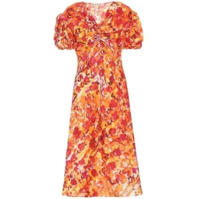 マルニ Marni レディース ワンピース ワンピース・ドレス Floral silk dress Poppy Red