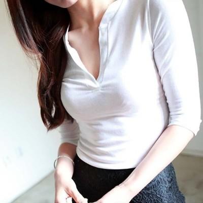 スキッパースリムフィットTシャツ レディース トップス Tシャツ カットソー Vネック スレンダー 5分袖 SEXY