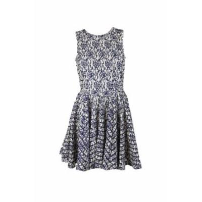 Maison  ファッション ドレス Maison Jules Azul Blanco sin Mangas Lace-Overlay Vestido Acampanado S