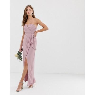 ティエフエヌシー レディース ワンピース トップス TFNC bridesmaid exclusive bandeau wrap midaxi dress with pleated detail in pink