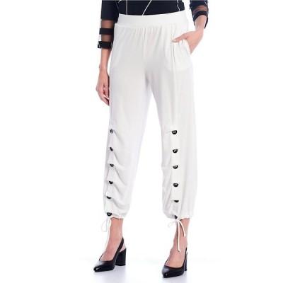アイシーコレクション レディース カジュアルパンツ ボトムス Button Accent Hem Pull-On Pants Ivory