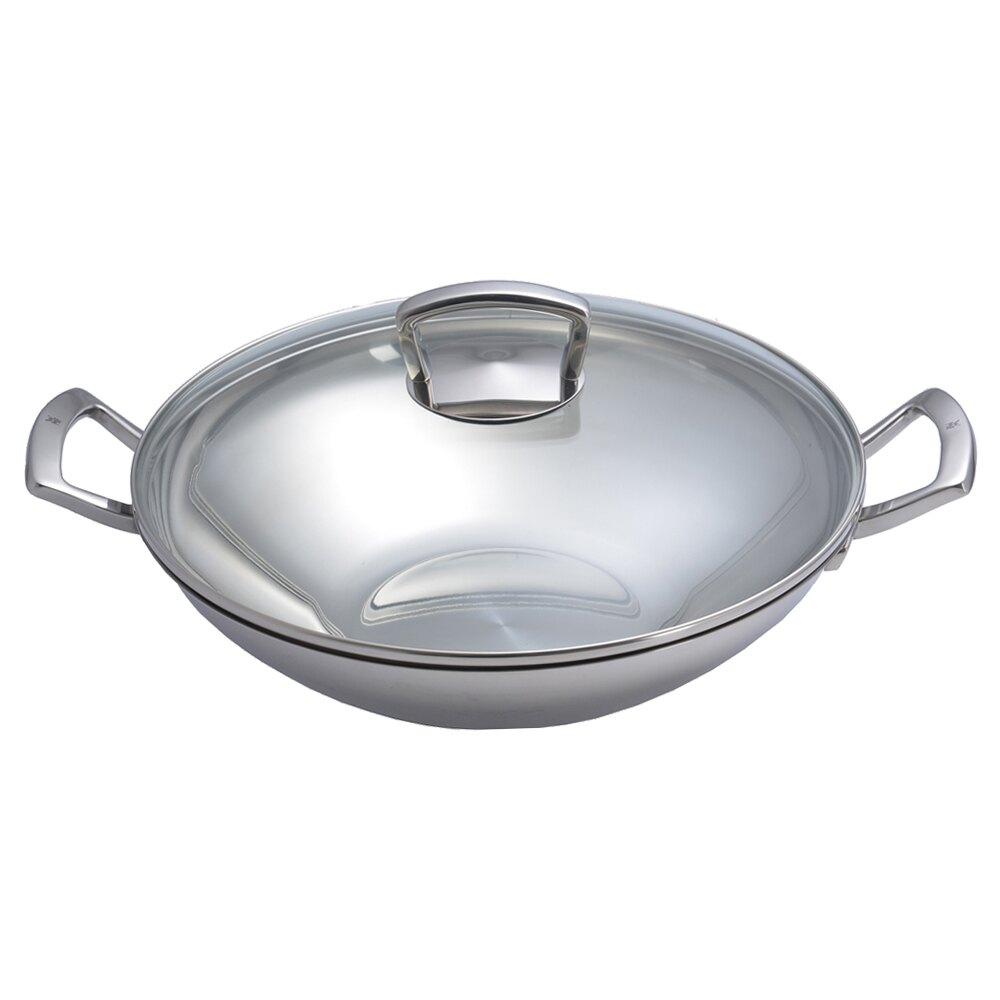 【德國WMF】雙耳中式炒鍋 不鏽鋼鍋 炒鍋 中華炒鍋 雙耳鍋 含玻璃鍋蓋 36cm