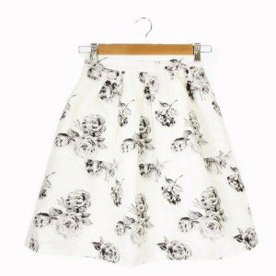 【中古】アプワイザーリッシェ Apuweiser-riche スカート 台形 ひざ丈 薔薇 ラメ 0 白 ホワイト /CK22 ☆ レディース