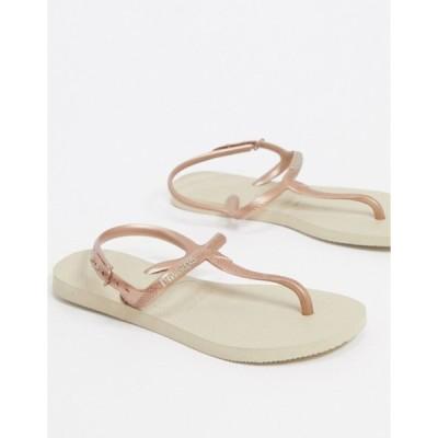 ハワイアナス レディース サンダル シューズ Havaianas twist flat sandals in gold
