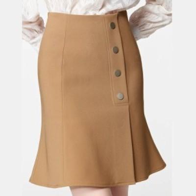 マーメイドスカート 膝丈 ミニ丈 台形 飾りボタン 春服 夏服 秋服 通勤 レディース