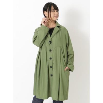 【大きいサイズ】【3-8L】衿ワイヤー入デザインコート 大きいサイズ アウター レディース