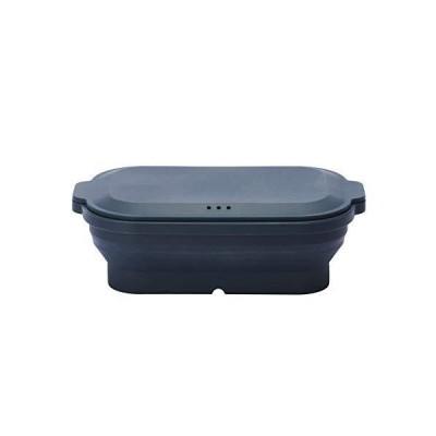tone PASPO(パスポ) シリコンスチーマー SG-03 (ディープブルー) 電子レンジ調理 蒸し器 レシピつき 折りたたみ可能 食洗機対応