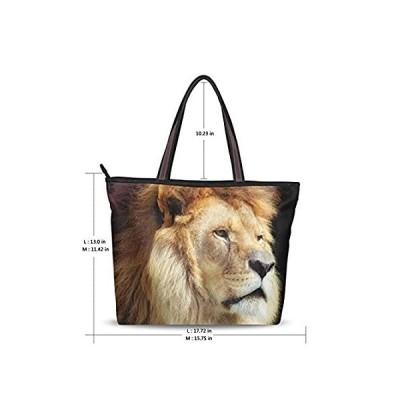 Women's Fashion Handbag Painting Amazing Lion Face Serious Shoulder Bags To