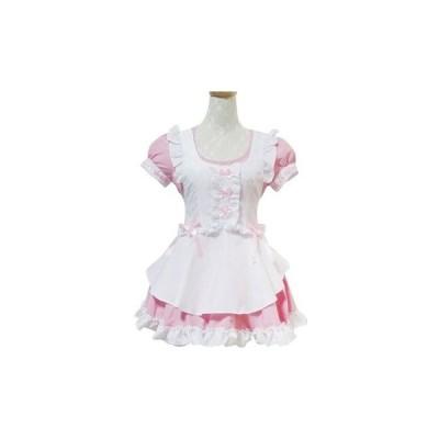 メイド服 コスチューム かわいい ミニスカート ピンク コスプレ衣装h2030