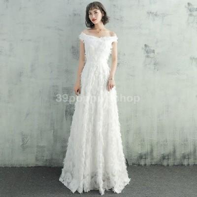 ウェディングドレス 二次会 白 Aライン 海外挙式 花嫁 大きいサイズ パーティードレス 披露宴 ブライダル シンプル 結婚式 ロングドレス 演奏会