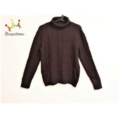 イタリヤ 長袖セーター サイズ11 M レディース ダークブラウン タートルネック   スペシャル特価 20200320