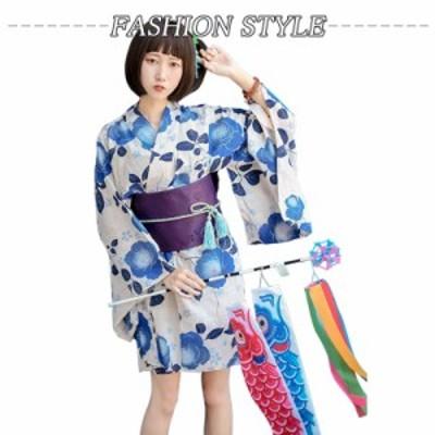 送料無料  女性 改良 着物 和服 上下セット 浴衣セット ブルー 花柄 仮装 お祭り 花火大会