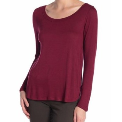 Red  ファッション トップス H By Bordeaux Womens Red Size Medium M Scoop-Neck Long Sleeve Knit Top