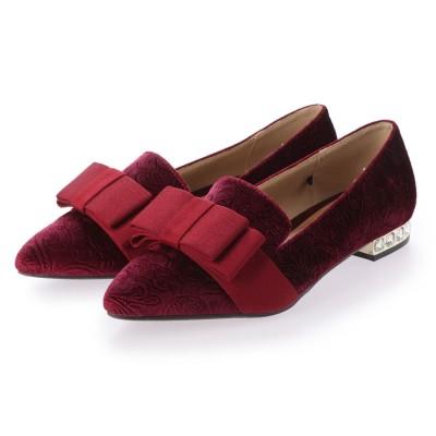 シューズラウンジ アウトレット shoes lounge OUTLET フラット リボン シューズ 88TN90324WINS (ワイン)