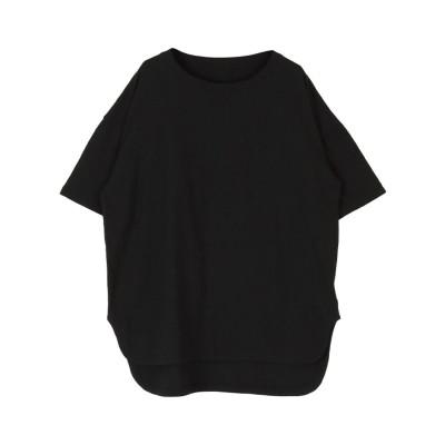 ティティベイト titivate コットンカットソーロング丈Tシャツ (ブラック)