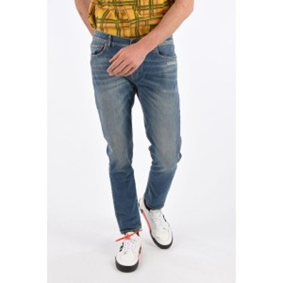 OFF WHITE/オフホワイト Blue メンズ 17cm Stretch Denim Skinny Fit Jeans dk