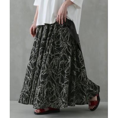 【オシャレウォーカー】 『線画プリントフレアスカート』 レディース ブラック フリーサイズ osharewalker