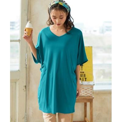 大きいサイズ 吸汗速乾UVカット5分袖ゆったりシルエットカットソーチュニック ,スマイルランド, plus size tops,