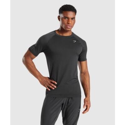 ジムシャーク メンズ Tシャツ スリムフィット ボディビル Tシャツ ジムシャーク アスペクト シームレスTシャツ 半袖 GYMSHARK フィジーク Tシャツ