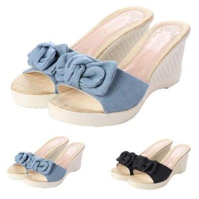 サンダルミュールウェッジソールサンダルデニム厚底レース花柄ジュート靴シューズレディース
