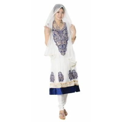 【送料無料】 サフェードのパンジャビドレス 3点セット 白×濃青 / パーティードレス コスプレ インドのドレス パンジャービードレス サ
