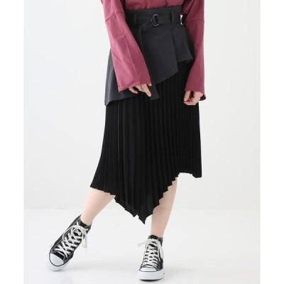 スカート 【STUDIOUS】 アシメトリーレイヤードプリーツスカート