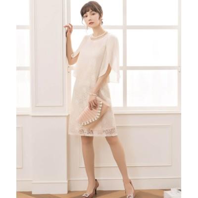【ドレス スター】 フリル(シフォン)スリーブレースワンピース・結婚式ワンピース・お呼ばれパーティードレス レディース ナチュラル Lサイズ DRESS STAR